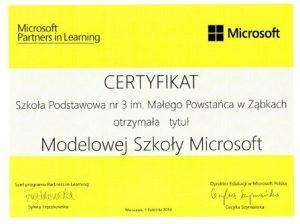 Certyfikat Modelowej Szkoły Microsoft